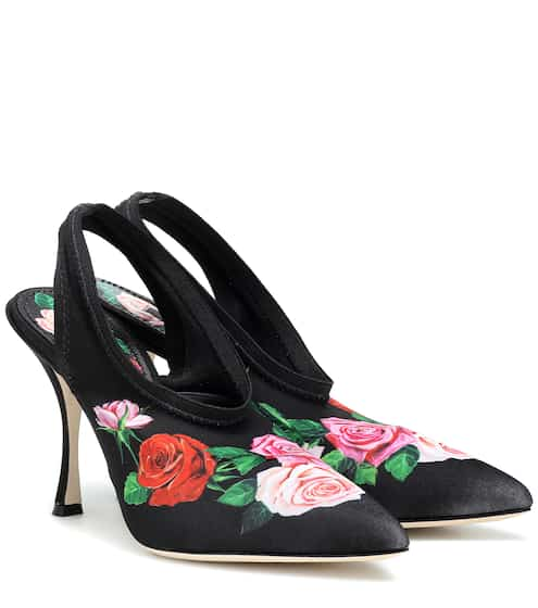 Pumps slingback a stampa floreale in satin  9f391d8f232