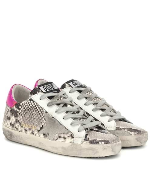 골든구스 Golden Goose Superstar snake-effect sneakers