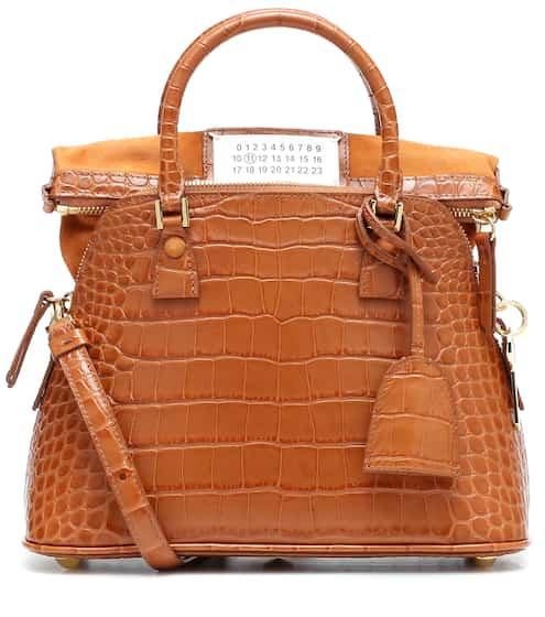 메종 마르지엘라 5AC백 스몰, 크로크다일 텍스처 - 꼬냑 Maison Margiela 5AC Small croc-effect leather tote