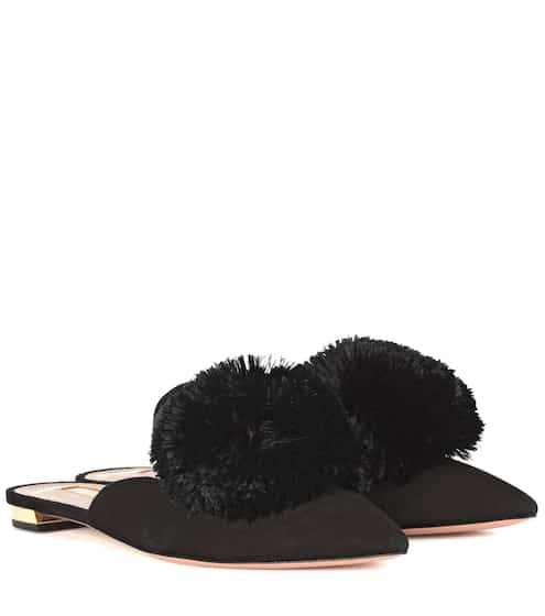 Aquazzura Slippers Powder Puff aus Veloursleder