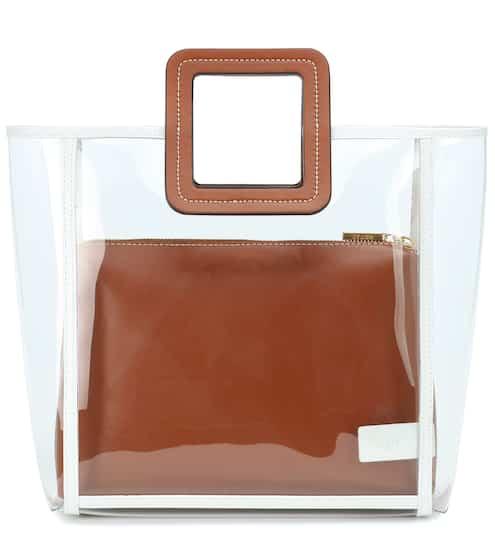 스타우드 셜리백 라지, PVC 토트백 - 브라운 Staud Framed Shirley PVC and leather tote
