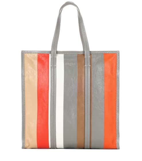 Balenciaga Gestreifter Shopper Bazar Medium aus Leder