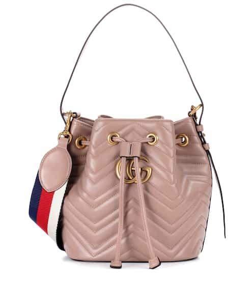 구찌 마몬트 버킷백 베이지 Gucci GG Marmont leather bucket bag