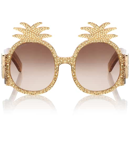 구찌 Gucci Embellished round sunglasses