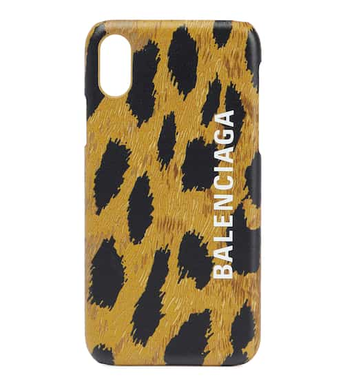 발렌시아가 아이폰X 케이스 Balenciaga Leopard-print leather iPhone X case