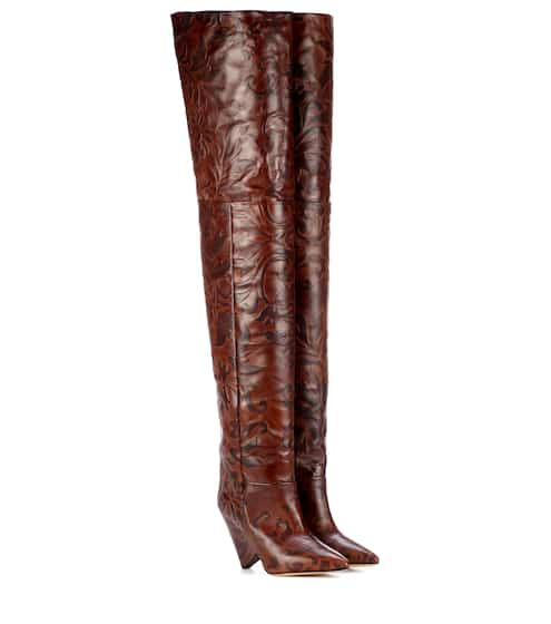 334dca16aa81 Plaid Over-The-Knee Boots - Off-White