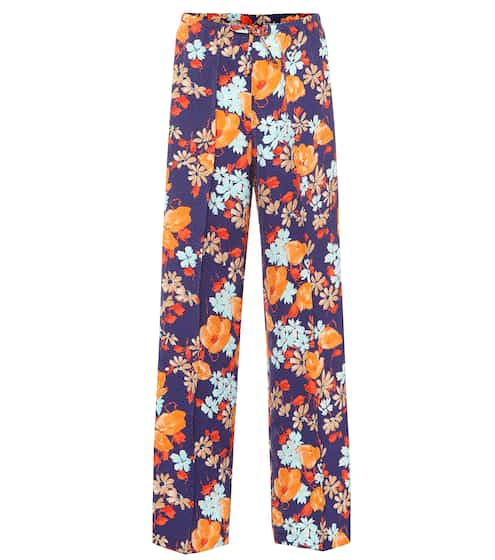 a50c58d17e4 Floral jacquard wide-leg pants
