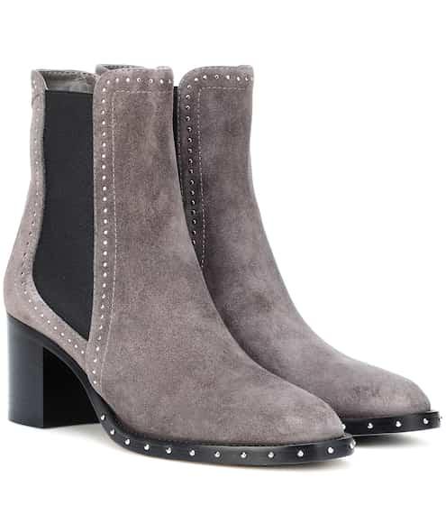 Boots Hanover 65 en Suède Noir avec Boucle en CristalJimmy Choo London oxG3zs