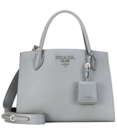 Monochrome Leather Shoulder Bag Prada