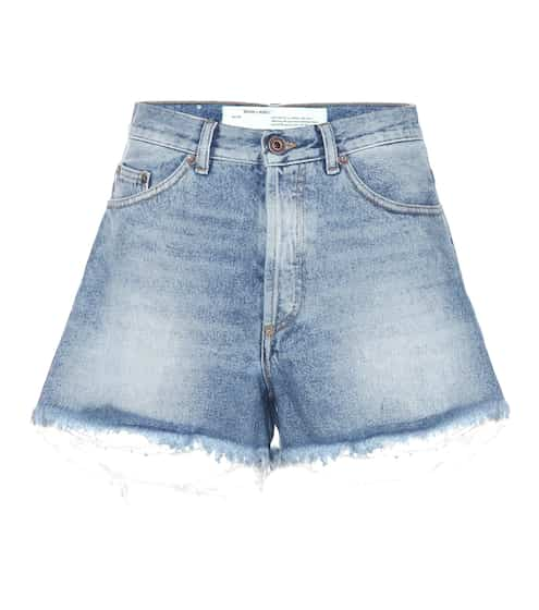 Off-White Jeansshorts in Distressed-Optik