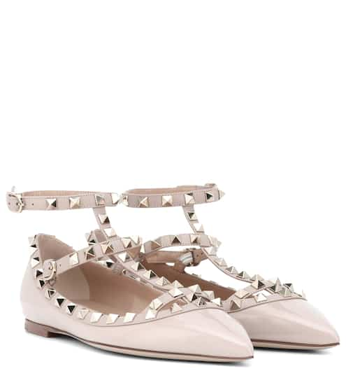 eea565e11f26 Valentino Valentino Garavani Rockstud Patent Leather Ballet Flats ...