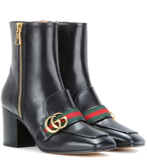 29ed7b14230 Gucci Leather Ankle Boots from mytheresa - Styhunt