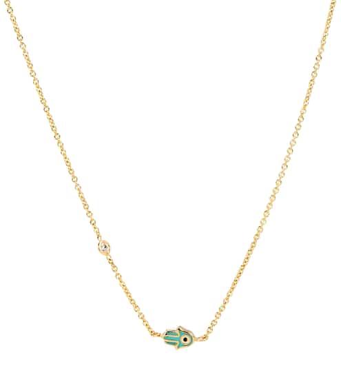 Sydney Evan Mini Enamel Hamsa 14kt yellow gold necklace