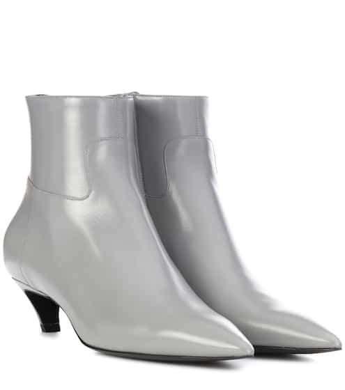 발렌시아가 슬래시 힐 앵클 부츠 그레이 Balenciaga Slash Heel leather ankle boots, slate-grey P00296050