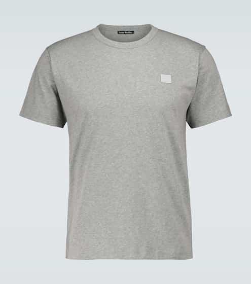 아크네 스튜디오 페이스 로고 반팔티 - 라이트 그레이 Acne Studios Nash Face cotton T-shirt
