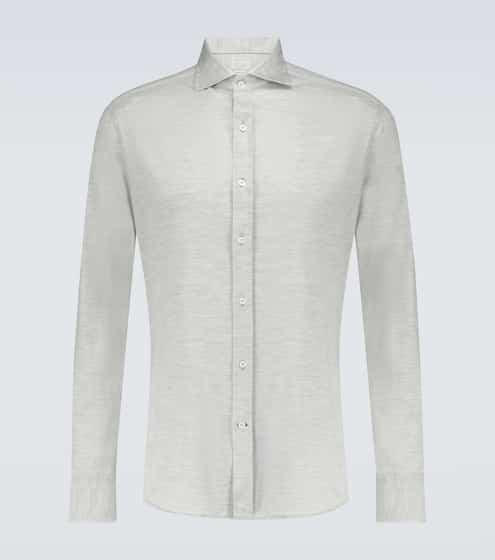 브루넬로 쿠치넬리 Brunello Cucinelli Silk and cotton-blend shirt