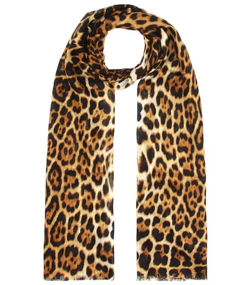 생 로랑 실크 스카프 Saint Laurent Leopard print silk scarf