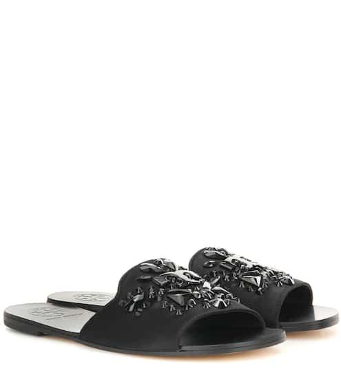 f31956047bcf Tory Burch Delphine Embellished Satin Slip-On Sandals