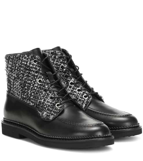토즈 앵클 부츠 Tod's leather and tweed ankle boots