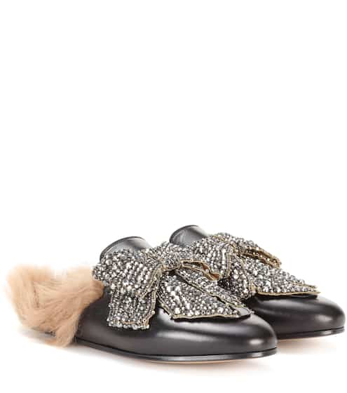 Gucci Lederslippers Princetown mit Lammfell