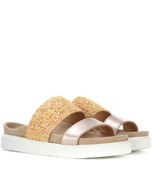 Bi-colour leather slides INUIKII Cheap Buy Authentic Purchase Online Cheap Best Prices Outlet Visa Payment Cheap Sale Popular KO0LgGNIsm