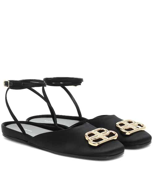 발렌시아가 BBall 새틴 샌들 - 블랙/골드 Balenciaga BBall satin sandals