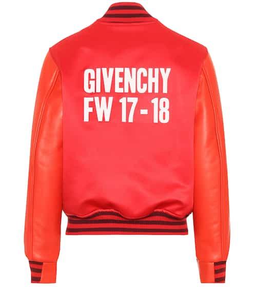 Givenchy Bomberjacke mit Lederärmeln und Print