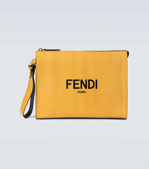 펜디 Fendi Logo leather pouch