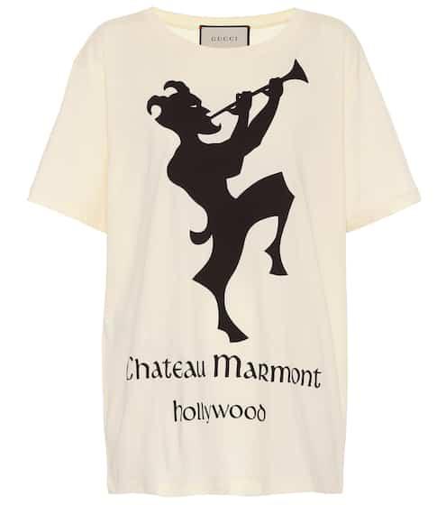 구찌 X 샤토 마몽 콜라보 티셔츠 (런웨이 상품) 아이보리/블랙 Gucci Chateau Marmont cotton T-shirt