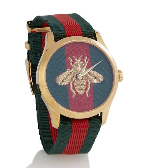 구찌 꿀벌 자수 38mm 남여공용 패브릭 시계 - 르 마르쉐 데 베르베 컬렉션 Gucci Le Marche des Merveilles 38mm striped fabric watch