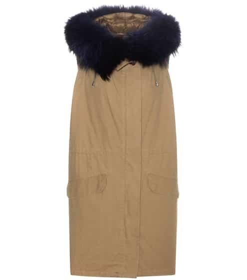 Army By Yves Salomon Gilet aus Baumwolle mit Pelzbesatz