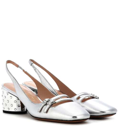 Marc Jacobs Slingback-Pumps aus Metallic-Leder