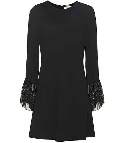 Saint Laurent Crêpe-Kleid mit Glockenärmeln aus Seiden-Chiffon