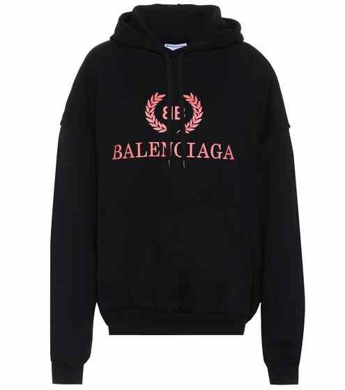 발렌시아가 우먼 로고 후드 스웻셔츠 블랙 Balenciaga Printed cotton sweatshirt P00295877