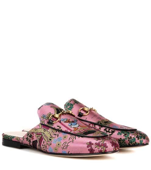 Gucci Slippers Princetown aus Brokat