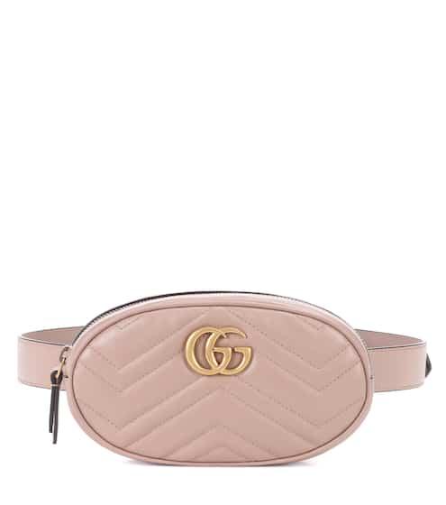 구찌 GG 마몬트 퀼팅 벨트백 - 베이지 (수영 착용) Gucci GG Marmont leather belt bag