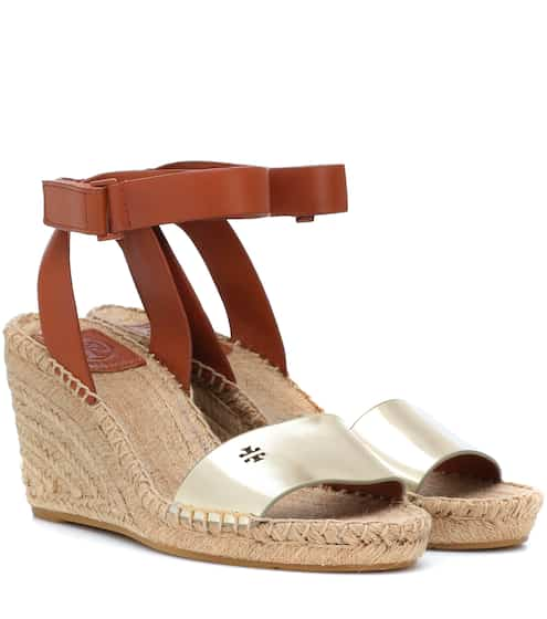 0814b7182 Tory Burch Bima Leather Wedge Espadrilles