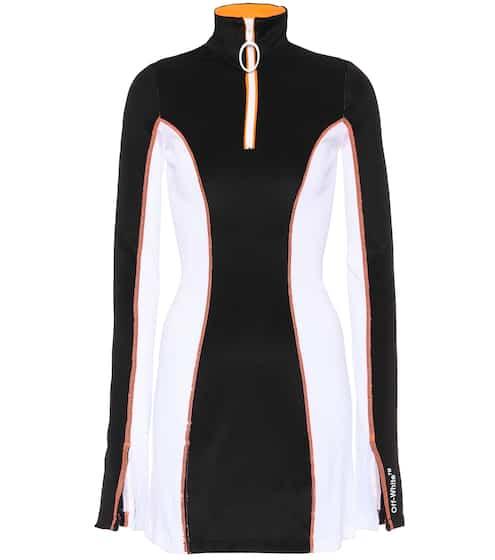 Off-White Kleid mit Rollkragen