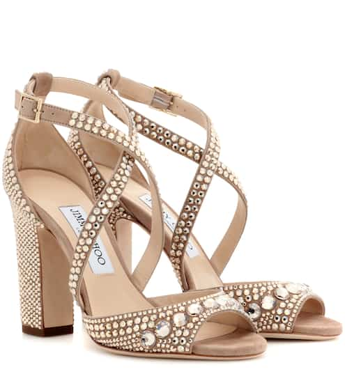 d2036990d26 Jimmy Choo Carrie 100 Glitter-Embellished Leather Sandals