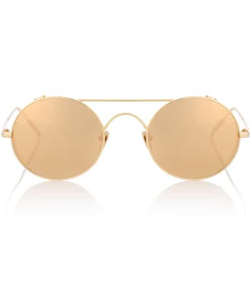 Linda Farrow Ovale Sonnenbrille 427 C1 aus vergoldetem Titan