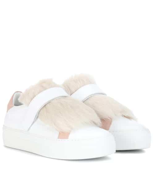 Moncler Sneakers Victoire aus Leder mit Lammfell