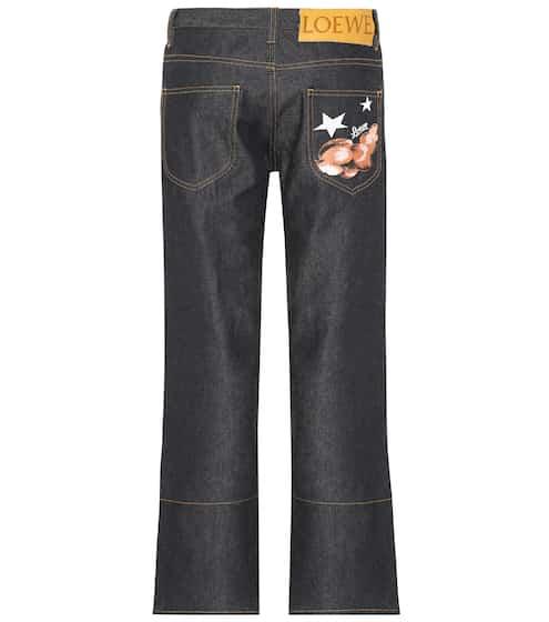 로에베 LOEWE Embroidered straight-leg jeans