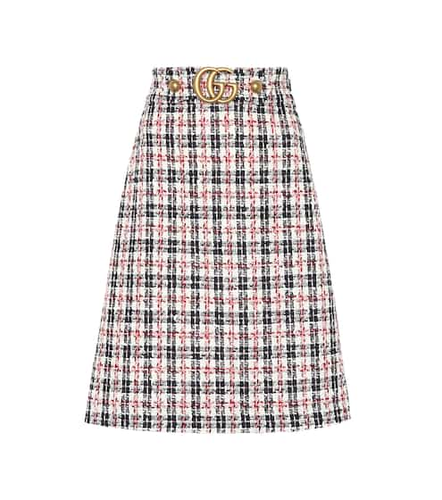 Plaid cotton-blend tweed skirt  ba7d90f77c