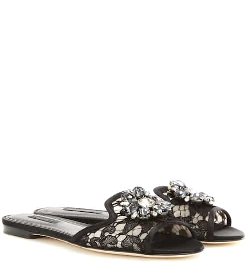 Dolce & Gabbana Bianca embellished slip-on sandals