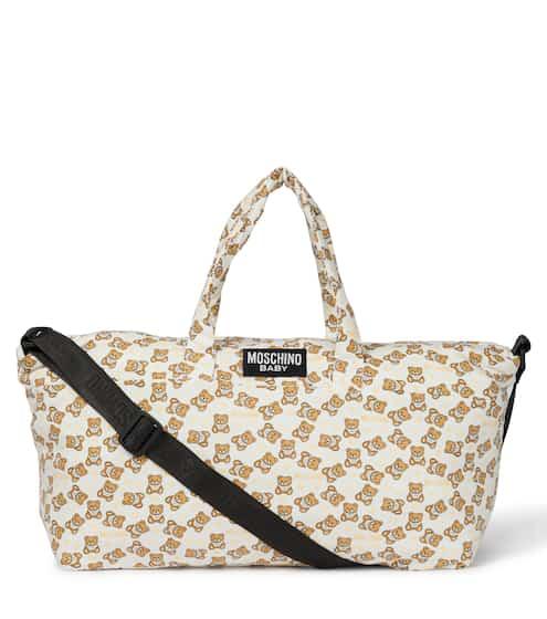 모스키노 키즈 베이비 체인징백 & 매트 세트 Moschino Kids Baby printed stretch-cotton changing bag with mat