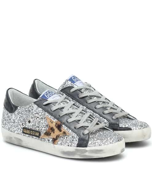 골든구스 Golden Goose Superstar leather-trimmed sneakers