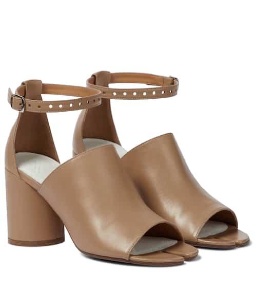 메종 마르지엘라 타비 샌들, 앵클 스트랩 - 뉴트럴 베이지 Maison Margiela Tabi leather sandals