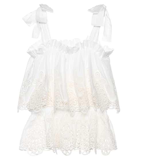 8e640269711db9 Broderie anglaise cotton-blend top | Dolce & Gabbana