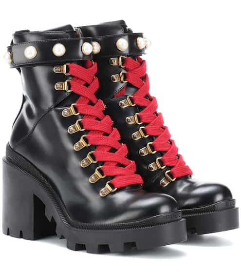 1c94eff2c7f Embellished leather ankle boots