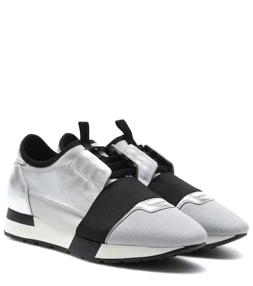 Balenciaga Sneakers Race Runner aus Metallic-Leder
